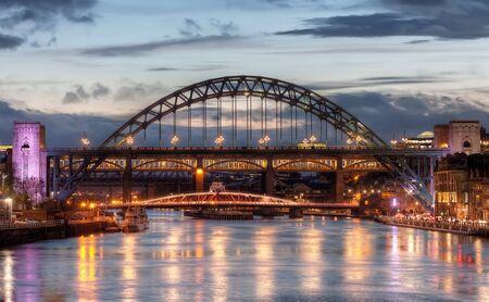 Iconic Tyne Bridge at Sunset in Newcastle upon Tyne, UK