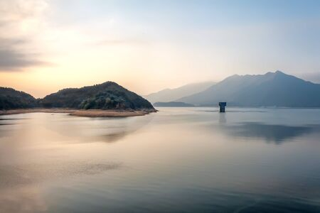 Tower in Serene Lake at Dusk in Plover Cove, Hong Kong