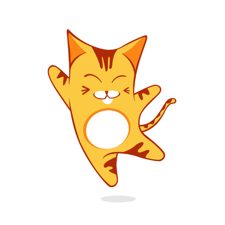 mjau: Jumping cat. Happy jumping cat, suitable for fun and young mascot.