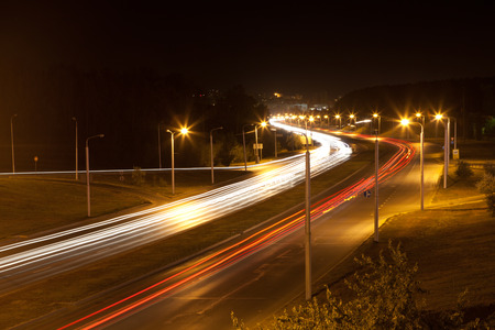 light traces: Highway road at night with light traces