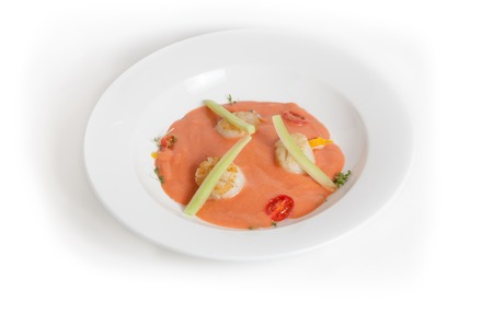 gaspacho: Cold gaspacho soup with scallop on white background