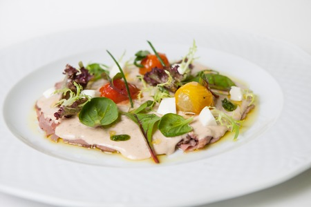 antipasti: Antipasti light italian snack on white plate