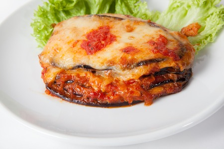 Baked eggplant, Parmigiana with cheese and lettuce