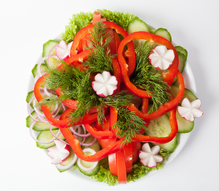 raddish: Fresh raw vegetables cutted on white plate Stock Photo