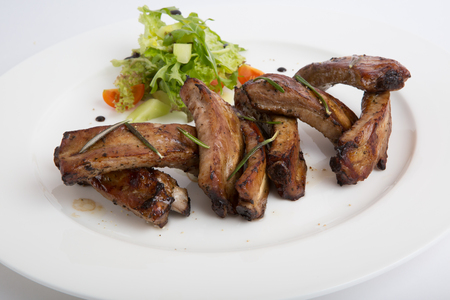 side salad: Fresh fried pork ribs with side salad