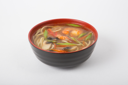seafood soup: Bowl of traditional asian seafood soup with shrimps and noodles