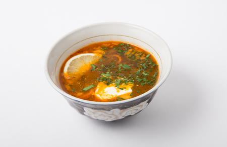solyanka: Traditional russian soup solyanka with sour cream