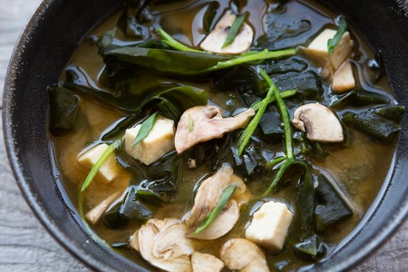 seafood soup: Bowl of asian seafood soup with seeweed
