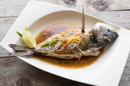 dorado fish: Grilled dorado fish with soy sauce and lime