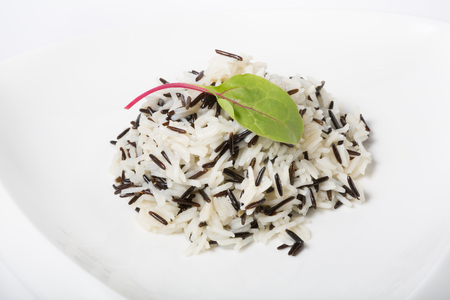 prepared: Prepared mixed black and white steamed rice Stock Photo