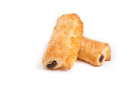 pretzel stick: Baked sticks stuffed with jam on a white background