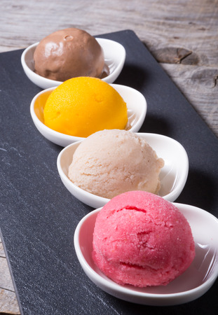flavours: Different flavours of sorbetto balls ice cream