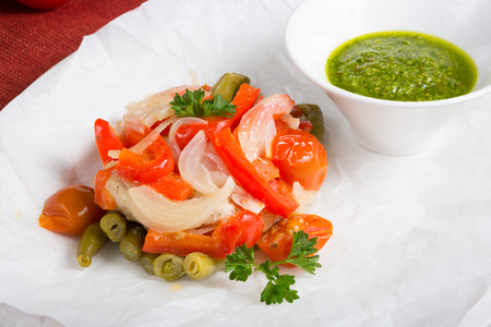 saute: Mixed vegetables saute with green pesto sauce