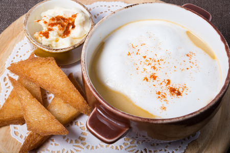 creamy: White creamy russian mushrooms soup with croutons Stock Photo
