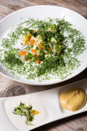 cold soup: Traditional russian cold soup okroshka in a white plate