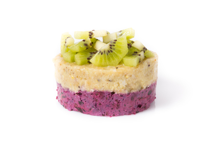 Raw vegan cake on a white background
