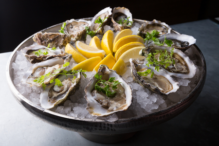 Oysters platter with lemon and ice served on a bar counter Stockfoto