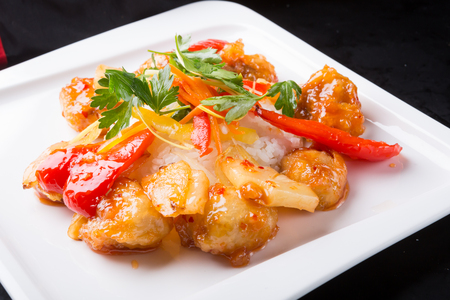 Traditional chinese sweet chicken with rice dish Stock Photo