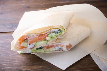 Fast food shawarma roll served on a pan