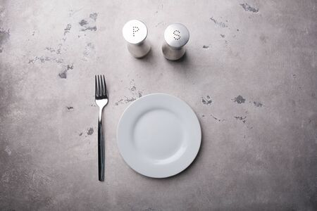 White empty plate with fork and metal salt shaker