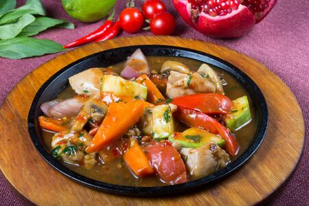 Mixed vegetable stew on frying pan