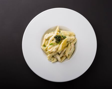Creamy italian penne pasta with chicken and cheese
