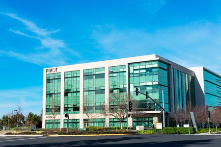 Pivot Interiors Silicon Valley headquarters building under beautiful blue sky - Santa Clara, California, USA - 2020
