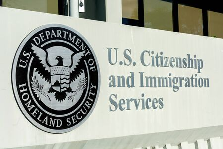 U.S. Citizenship and Immigration Services,USCIS field office in San Francisco Bay Area. USCIS is an agency of the U.S. Department of Homeland Security DHS - Santa Clara, California, USA - 2019