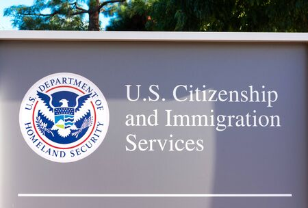 U.S. Citizenship and Immigration Services USCIS field office in San Francisco Bay Area. USCIS is an agency of the U.S. Department of Homeland Security DHS - Santa Clara, California, USA - 2019 Sajtókép