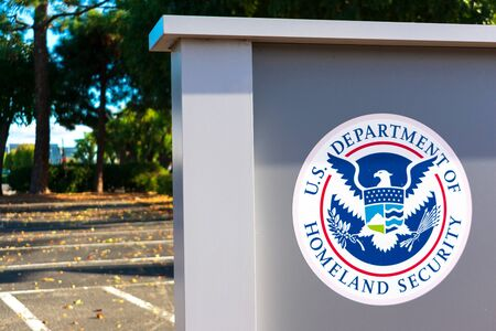 United States Department of Homeland Security DHS seal located near USCIS field office - San Jose, California, USA - 2019