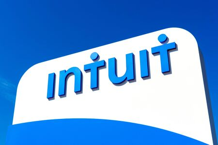 Intuit sign is displayed near business and financial software company headquarters in Silicon Valley - Mountain View, California, USA - March 27, 2019
