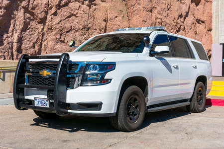 Chevrolet SUV white base model service vehicle wearing U.S. government plates registered to the Department of the Interior - Las Vegas, Nevada, USA - 2020
