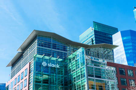 Slack headquarters. Slack Technologies designs and develops communication platform for real-time messaging, file sharing, archiving, and searching services - San Francisco, California, USA - 2020 Editorial