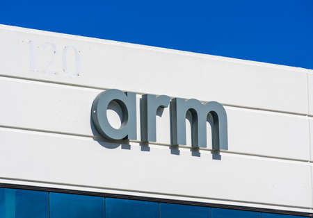 Arm sign and logo on the facade of British multinational semiconductor and software design company - San Jose, California, USA - 2020