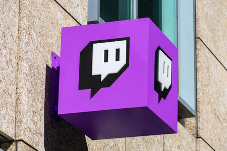 Twitch sign at company headquarters in Silicon Valley. Twitch is a live streaming video platform owned by Twitch Interactive, a subsidiary of Amazon - San Francisco, CA, USA - 2020