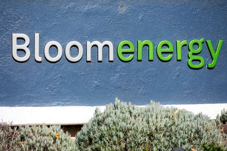Bloom Energy sign headquarters in Silicon Valley. The company manufactures and markets solid oxide fuel cells that produce electricity on-site - San Jose, California, USA - 2020