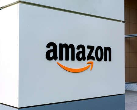Amazon sign near the entrance to Silicon Valley campus of an American multinational technology company, based in Seattle, Washington - Santa Clara, California, USA - Circa, 2019