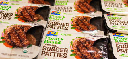Safeway Organic Plant Based Burger Patties compete with Beyond Meat brand on plant-based meat alternatives market - Cupertino, California, USA - June 20, 2019