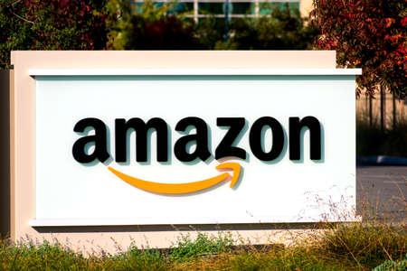 Close up. Amazon logo at Silicon Valley technology campus - Sunnyvale, California, USA - 2019
