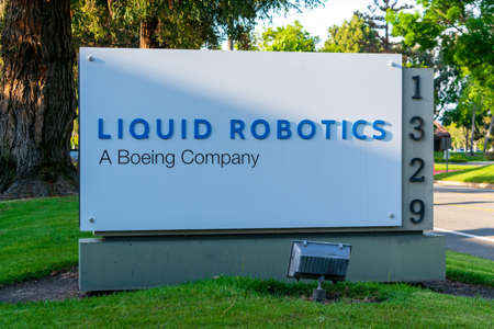 Liquid Robotics sign at headquarters in Silicon Valley. Liquid Robotics, a subsidiary of The Boeing Company, is an American marine robotics corporation - Sunnyvale, CA, USA - 2020 Editorial