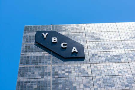 YBCA sign on the modern wall of Yerba Buena Center for the Arts contemporary arts center - San Francisco, California, USA - July 27, 2019
