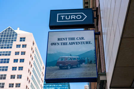Turo sign on headquarters of online car sharing and peer-to-peer carsharing company - San Francisco, California, USA - July 27, 2019 Editorial