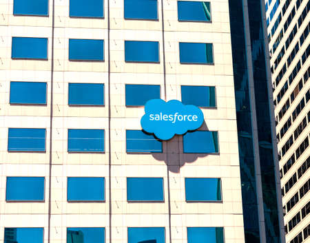 Salesforce logo facade of software company headquarters office building - San Francisco, California, USA - 2019