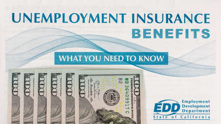 Unemployment insurance benefits booklet. Extra 600 dollars of CARES Act unemployment benefit in 100 dollar bills - San Jose, California, USA - 2020