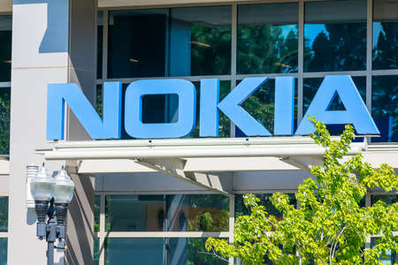 Nokia corporate campus in Silicon Valley. Nokia is Finnish multinational telecommunications, information technology, consumer electronics company - Sunnyvale, California, USA - 2020