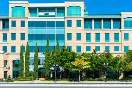 Uber Silicon Valley campus. San Francisco based Uber Technologies is an American multinational ride-hailing company - Sunnyvale, California, USA - 2020 Editorial