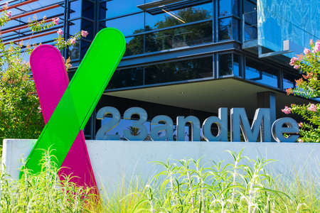 23andMe logo and sign at headquarters campus of a privately held personal genomics and biotechnology company in Silicon Valley - Sunnyvale, California, USA - 2020