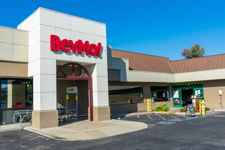 BevMo! sign and logo on retail store. BevMo! is a superstore retailer of alcoholic beverages - Sunnyvale, California, USA - 2020 Editorial