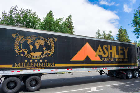 Ashley Furniture Industries semi truck is delivering products to customers - San Jose, California, USA - 2020 Editorial