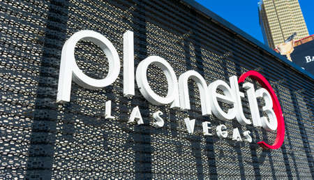 Planet 13 sign on largest cannabis dispensary in world where marijuana is sold for recreational or medical use. Store is operated by Planet 13 Holdings company - Las Vegas, Nevada, USA - 2020 Editorial